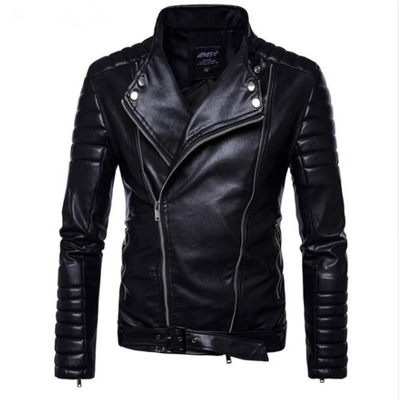 New Fashion Autumn Leisure Stand Collar Motorcycle Jackets PU Male Striped Shoulder Sleeves Faux Leather Jacket