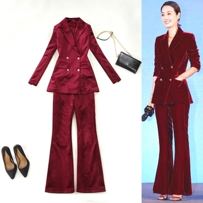 New wine red velvet Pant Suits women large size spring double-breasted suit + bell-bottom two-piece suits Ladies Office Set