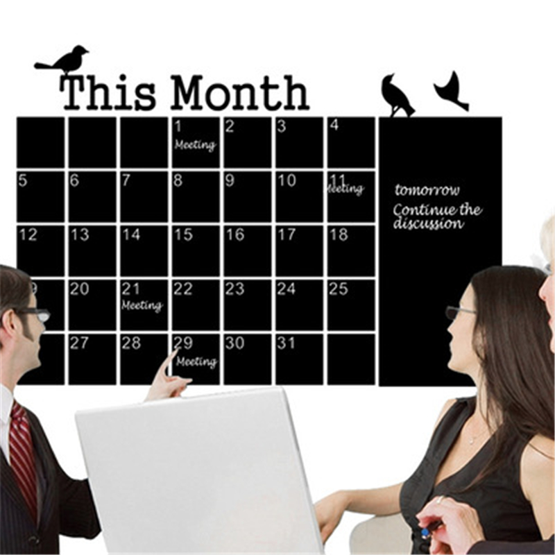 New Generation Monthly Chalkboard Calendar Green Wall Stickers 57*75CM Diy Home Office Wall Monochrome Removable Vinyl Mural