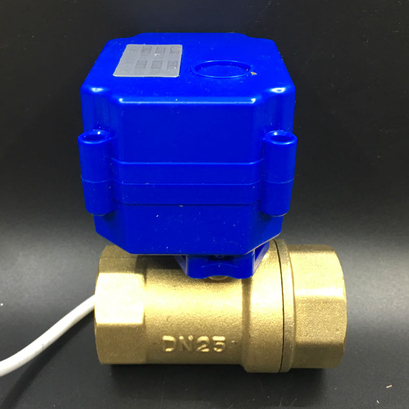 Free Shipping DC3-6V (5V) BSP 1'' 2-Way Electric Motorized Ball Valve, Brass DN25 Automatic Valve 2 Wires CR01 Wiring CE цена