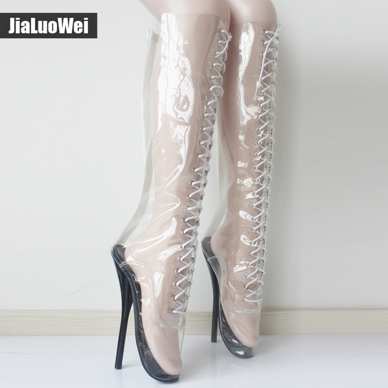 Jialuowei 2018 New Women Sexy Ballet super High heel fashion shoes Pointed Toe Transparent Clear PVC Thin Knee-high Ballet Boots jialuowei women sexy fashion shoes lace up knee high thin high heel platform thigh high boots pointed stiletto zip leather boots
