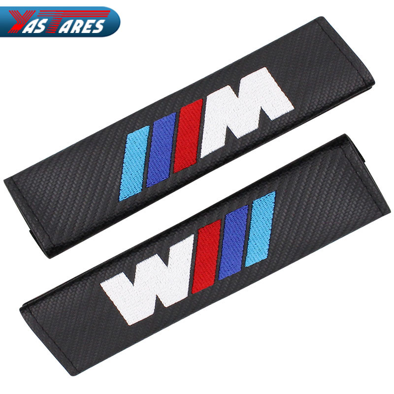 2 Pcs/Set NEW PU material Safety Belt Cover Seat Shoulder Pad Accessories For BMW E93 E60 E61 F10 F30 F07 M3 M5 E63 Car Styling