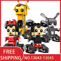 Mickey Minnie Mouse Crawler Action Figures Legoing Movie Remote Control Building Blocks Technic RC Toys Children Gift Bricks