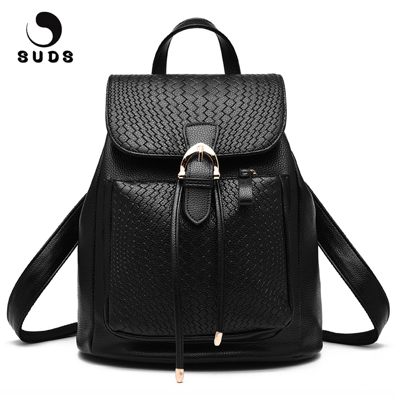 SUDS Brand Backpack Women PU Leather Cover Travel Backpack High Quality School Bags For Teenagers Girls Female Casual Backpacks