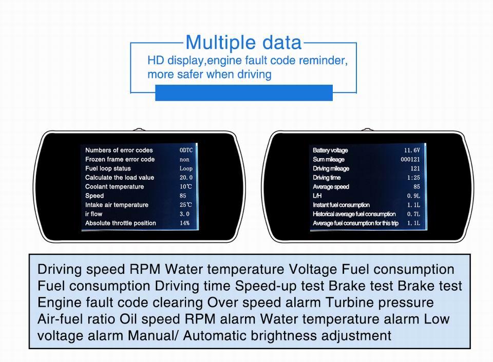 US $39 89 35% OFF|VJOYCAR P12 4 3 TFT OBD Hud GPS Head Up Display Digital  Car Speed Projector On board Computer OBD2 Speedometer Fault Code Clear-in