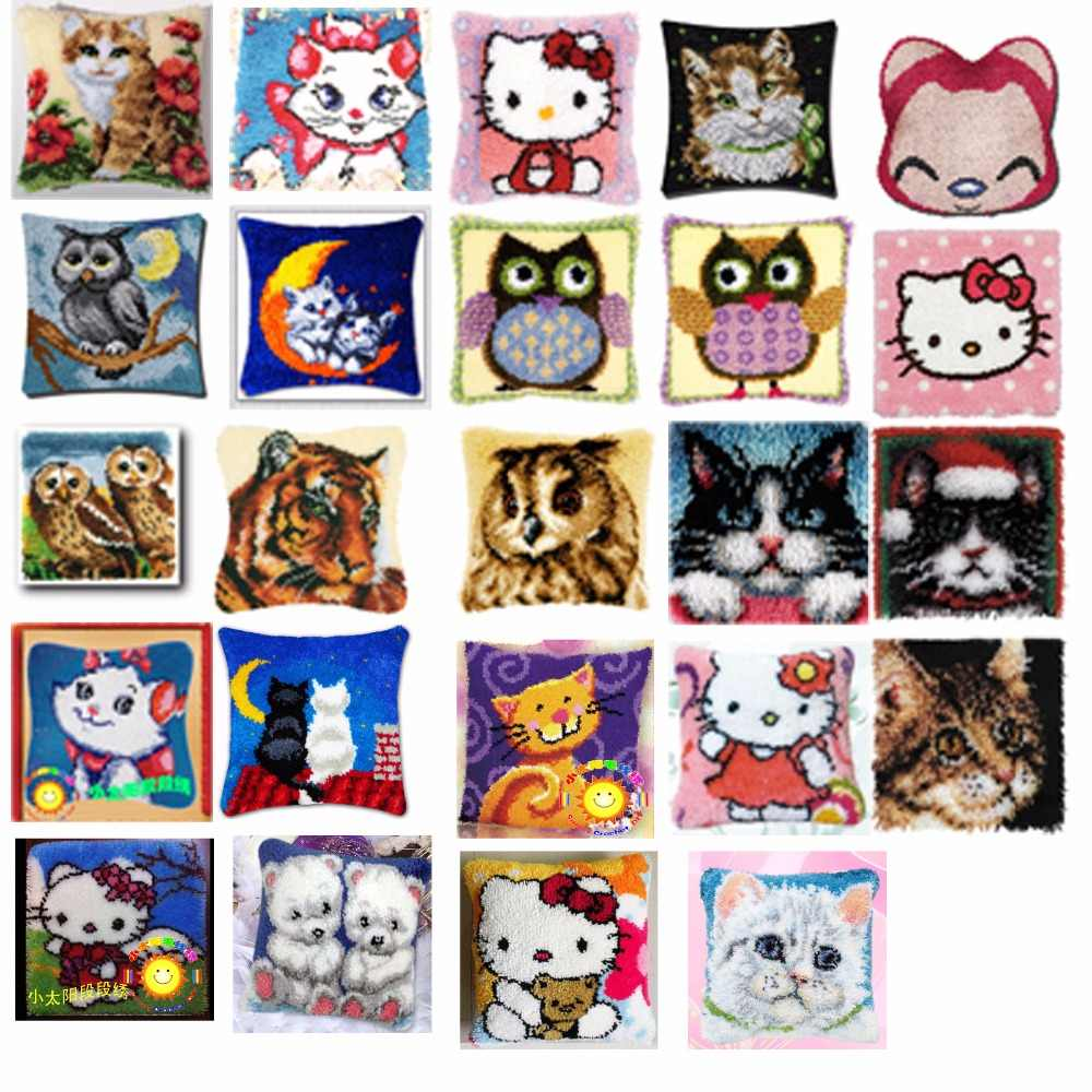 cats Cushion Latch Hook Kit Pillow Mat DIY Craft Flower 42CM 42CM Cross Stitch Needlework Crocheting Cushion Embroidery
