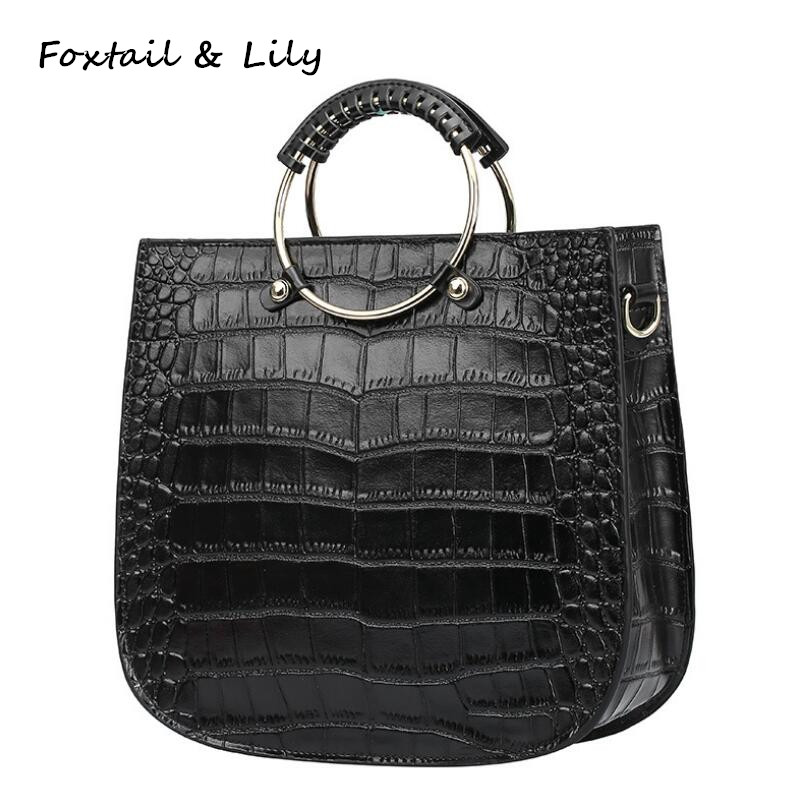 Foxtail & Lily Fashion Crocodile Pattern Genuine Leather Handbags Elegant Ladies Vintage Tote Shoulder Bag Women Crossbody Bags elegant crocodile pattern fashion women backpacks multipurpose solid genuine leather bags