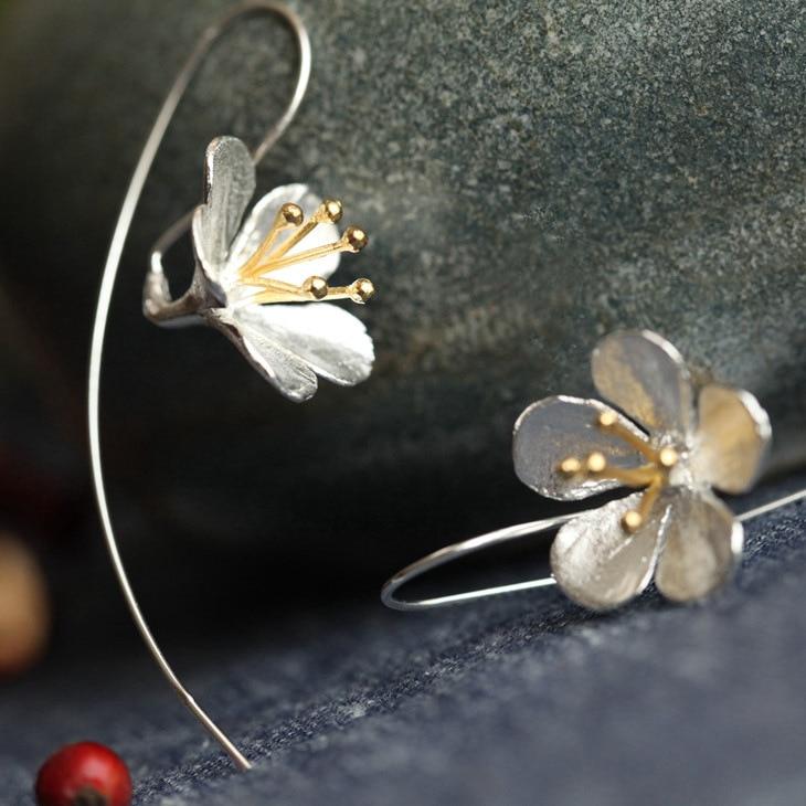 925 ստերլինգ արծաթյա ծաղիկով երկար շղարշի ականջողներ կանանց համար Թայերեն պրոցես Էլեգանտ տիկնայք ստերլինգ և արծաթյա զարդեր անվճար առաքում