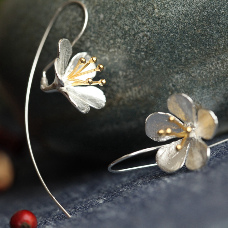 925 sterling srebro cvijet duga kićanka naušnice za žene Tajlandski proces Elegantna Lady Sterling-srebro-nakit Besplatna dostava