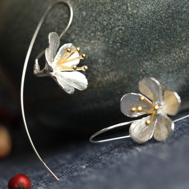 925 Sterling Silver Flower Long Tel Earrings For Women Thai Process Elegant Lady