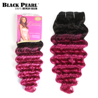Pre Colored Ombre Pink Human Hair Bundles 1 PC Indian Deep Wave Hair Weave Bundles T1bPink Hair Extensions 100g Hair Weft