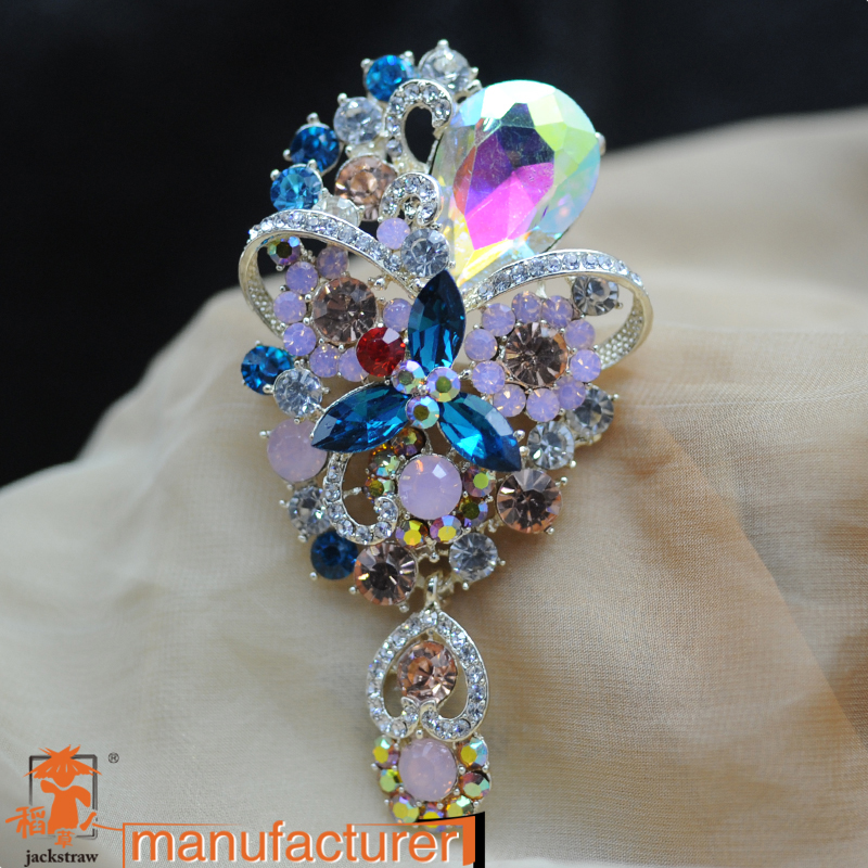 cnjackstraw new fashion crystal big beautiful color AB drop glass brooch wedding  jewelry