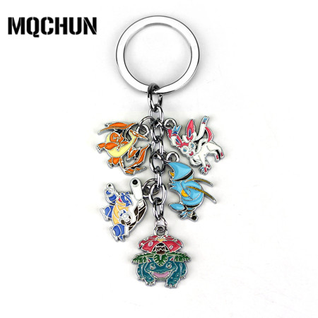 New Pokemon Keychain Cute Cartoon Pikachu Bulbasaur Eevee Mega - Fashion Jewelry
