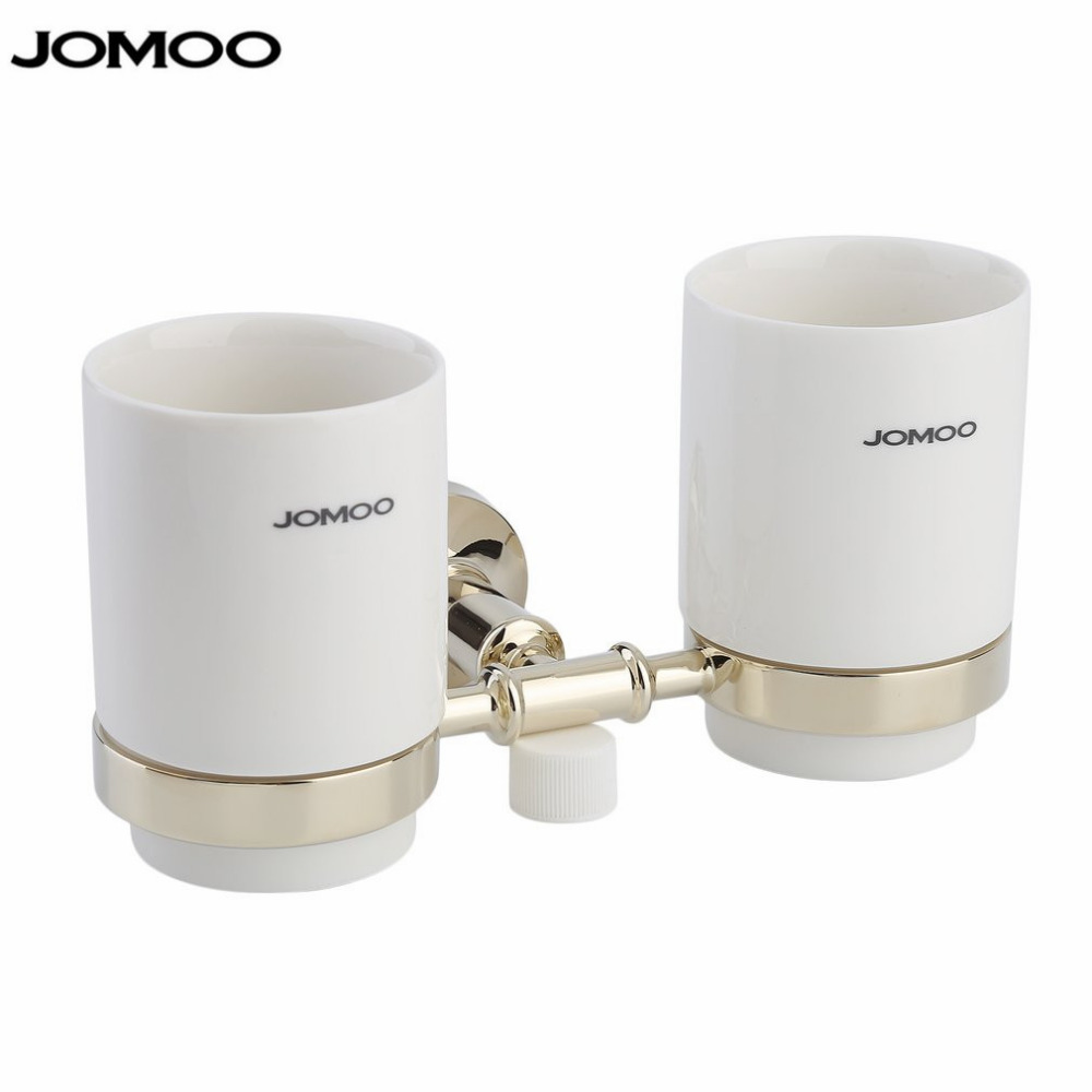 JOMOO  Wall Mounted Double Tumbler Chrome Plated Toothbrush Holder with Dual Ceramic Cups Modern Bathroom Accessories oil rubbed bronze wall mounted dual cup holder toothbrush holder w two ceramic cups