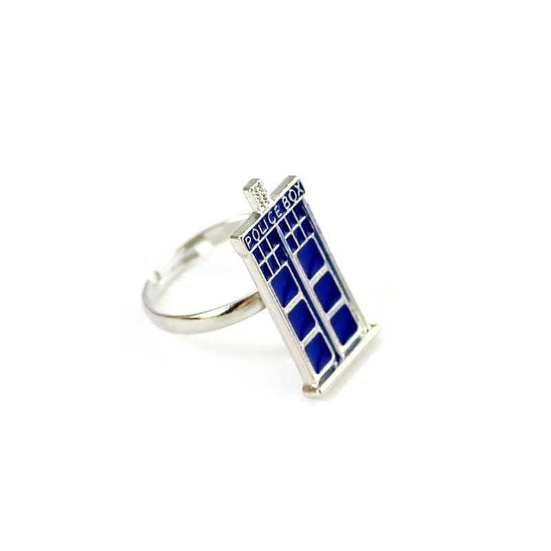 DR WHO กล่องตำรวจสีฟ้าเคลือบคุณภาพสูงแหวนแฟชั่นชุดแต่งงาน Memorial PARTY แหวนภาพยนตร์เครื่องประดับ