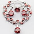 Round Silver Christmas&Halloween Women Jewelry Sets Imitated Red Garnet AAA Zircon Necklace Pendant Drop Earrings Rings Bracelet