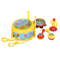 5pcs/set Colorful Educational Toys Drum /Handbell / Trumpet / Sand Hammer / Drum Sticks Musical Instruments Playing Set Gift Set