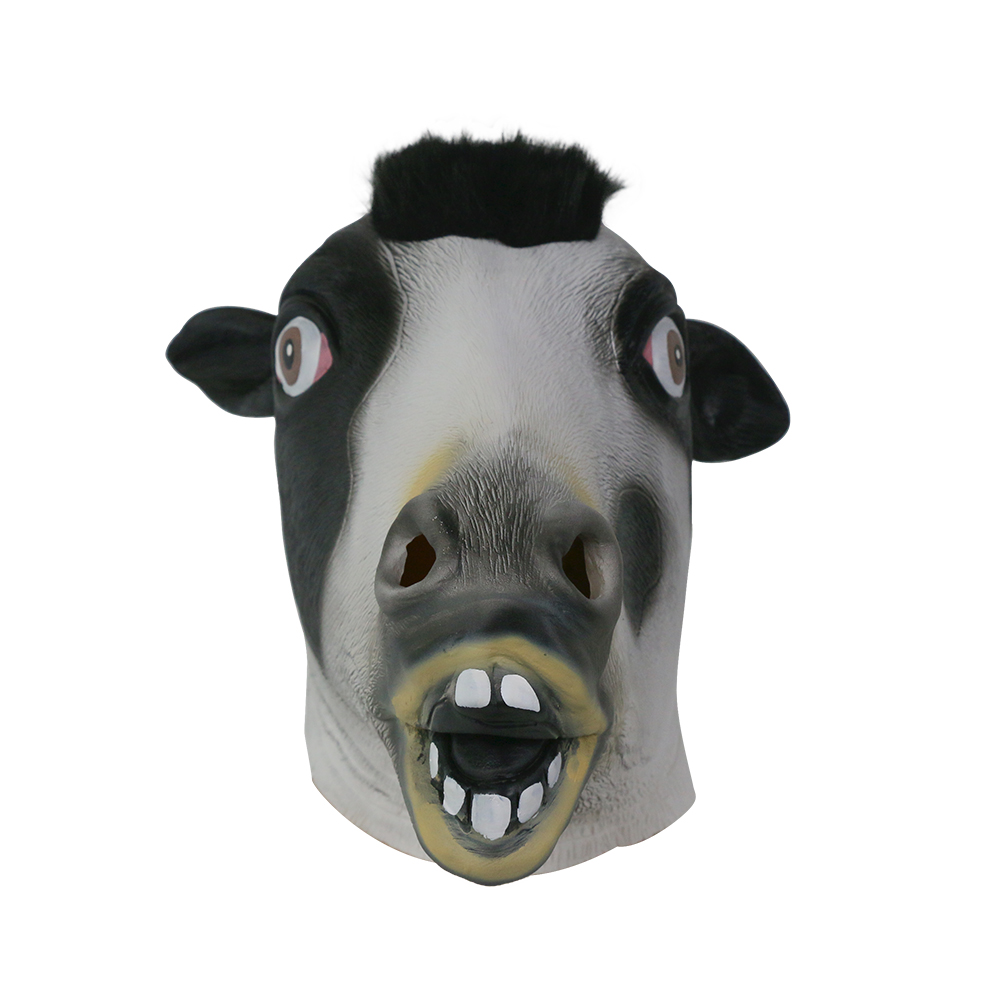 Cute Cow Mask  Halloween Animal Head Full Face Adults Mask  For Cosplay Latex Breathable Good Quality Dress Party Mask