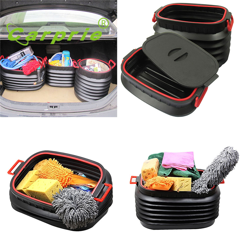 Tiptop New Car Trunk Foldable Rubbish Container Portable Plastic Water Barrel Organizer Box Brand New OCT1 37l telescopic bucket car storage portable plastic foldable water bucket container car organizer black blue