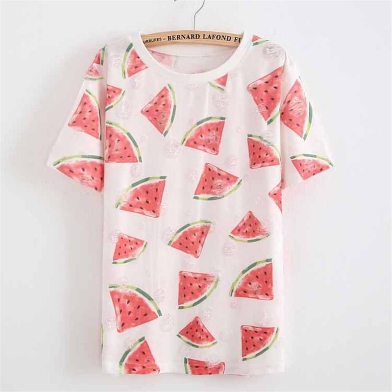 Zuolunouba 2018 Summer Holes T Shirt Women Watermelon Harajuku High Quality Girl T Shirts Fashion Short Sleeve Women Tee Tops