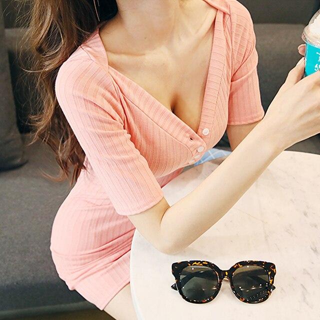 Hộp đêm sexy sexy thấp cắt ngắn tay tight v cổ áo dress mùa hè mỏng slim big mã ở giữa của một dài