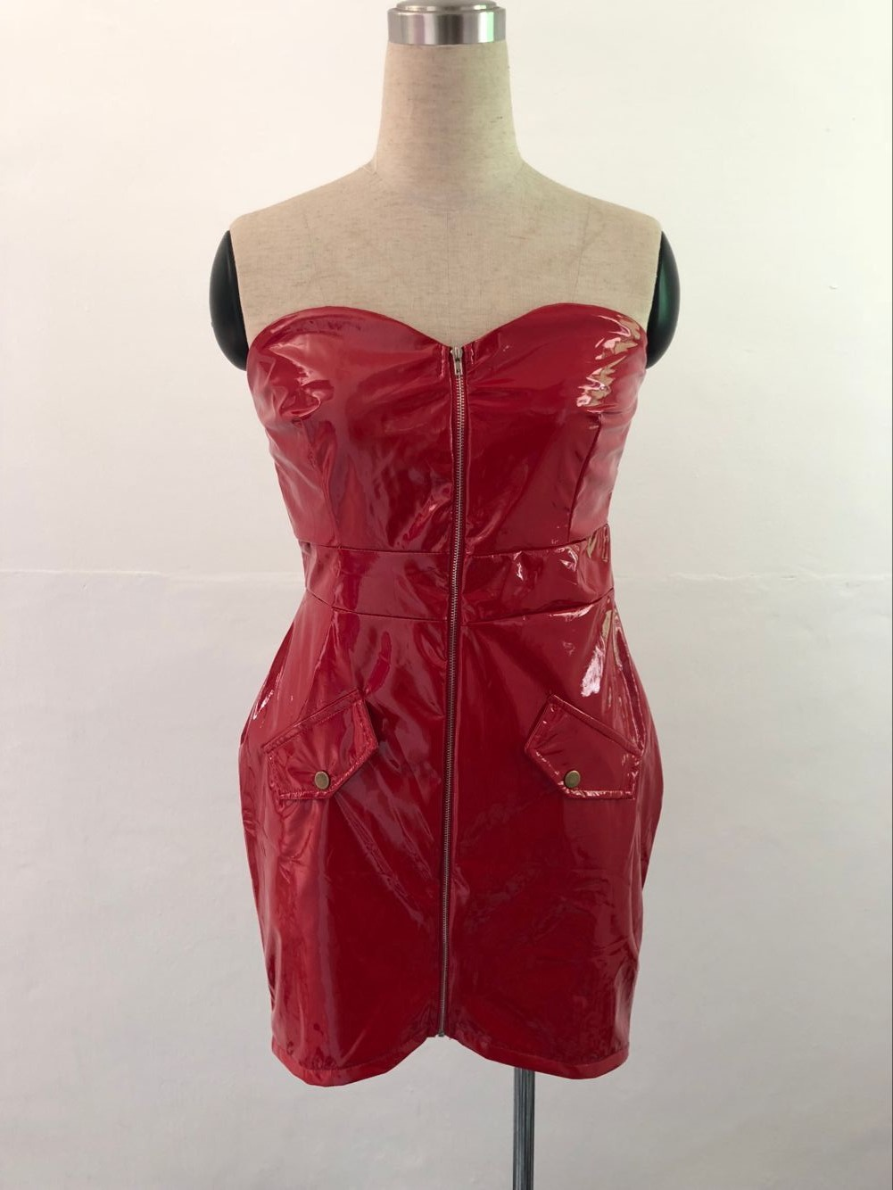 0bd417bac05 2018 Sexy Women PU Leather Dress Front Zipper Boob Tube Top Dress ...