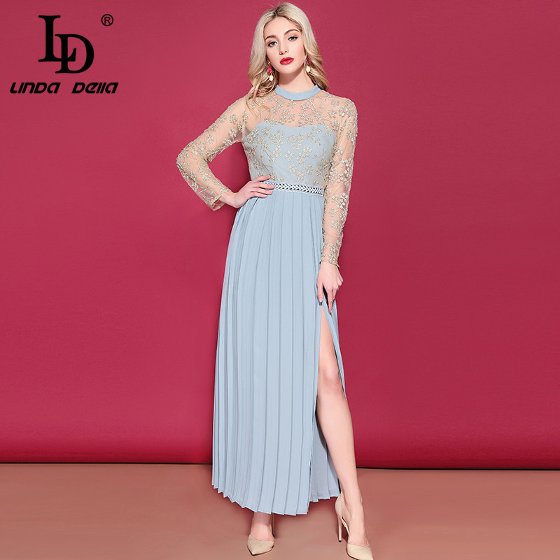 LD LINDA DELLA Women's Long Sleeve Maxi Dress Gorgeous Gold thread Embroidery Long Dress Side Split Elegant Formal Party Dresses