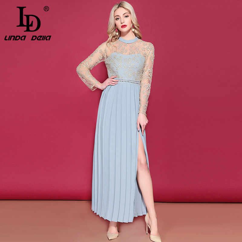 07108a22cf8 LD LINDA DELLA Women's Long Sleeve Maxi Dress Gorgeous Gold thread  Embroidery Long Dress Side Split