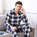 Pijama dos homens Primavera Outono Manga Longa Sleepwear 100% Algodão Xadrez Cardigan Homens Pijamas Conjuntos de Pijama Salão Plus Size Sleepwear