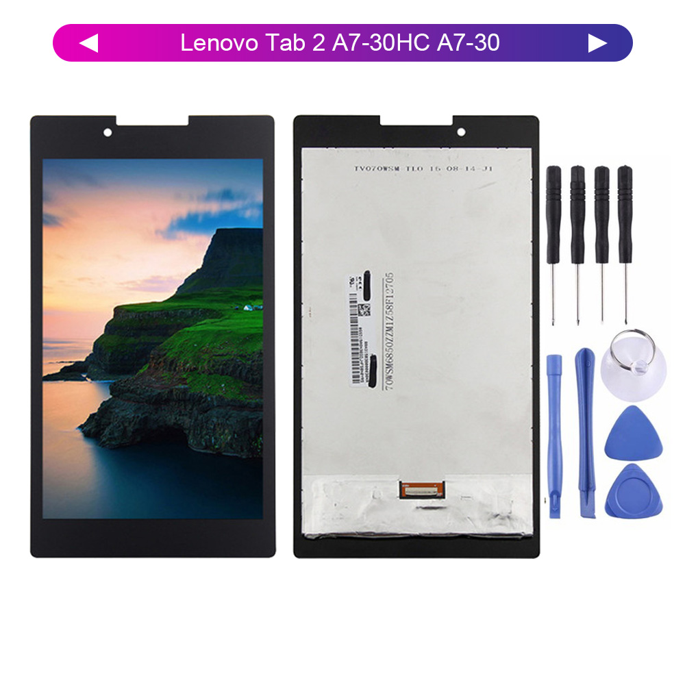 For Lenovo Tab 2 A7-30HC A7-30 LCD Display Screen Digitizer A3300 A3300T Touch Panel Glass Assembly Replacement + Tools