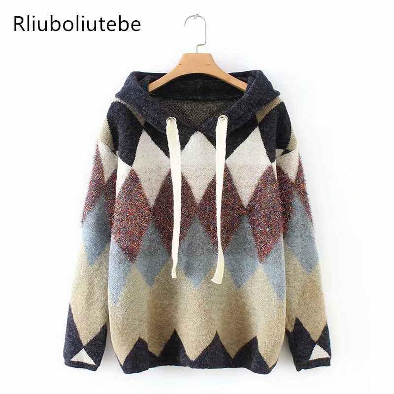 Multicolor Hooded Argyle Knit Sweater Women Dropped Shoulder Long Sleeve Casual Loose Knitted Pullover Sweater Fashion