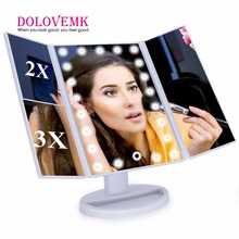 Tri Fold Adjustable 21 LED Lighted Travel Mirror 1X/2X/3X Magnification Make-up Mirror Compact Pocket Mirror for Beauty Makeup
