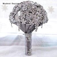 Высокое качество Роскошные Искусственные цветы кристалл Букеты Свадебные Новинка 2017 года со стразами Свадебные невесты букет bruids boeket