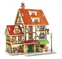Quality France Cafe Model Building Kits 3D Architecture Wooden Puzzle For Adults Kids