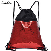 Casual Small Sequin Drawstring Bags Unisex Double Color Sports Bags Simple Shiny Backpack Fashion Large Capacity