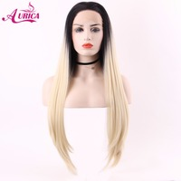 Aurica Ombre Blonde Heat Safe Synthetic Hair Lace Front Wig With Long Black Roots For Women