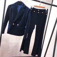 2 Piece Set for Women Pants Suits Velvet Jacket And Long Pants Spring Female Set High Quality