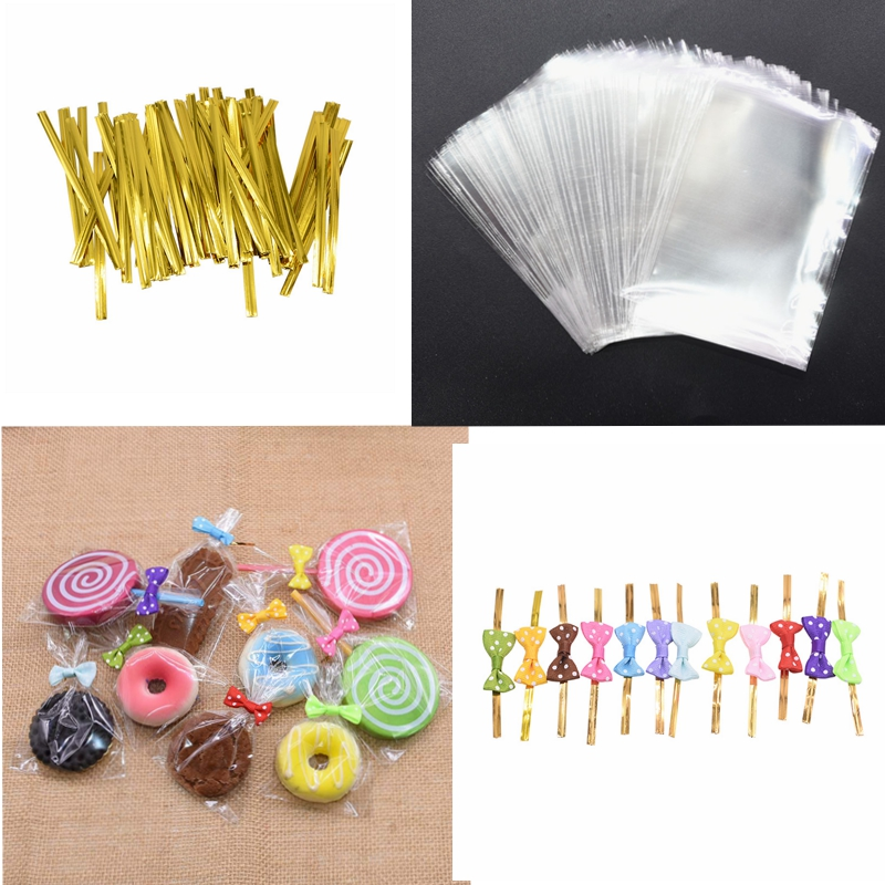 100pcs Clear Opp Plastic Bags Candy Lollipop Packaging Bag Dots Bowknot Twist Ties Baby Shower Birthday Wedding Party Decoration