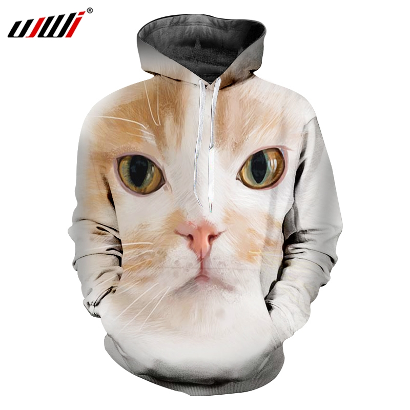 UJWL Spring And Autumn New Style Man Lovely Pollover 3D Printed Animal Big Eyes Cat Personality Loose Men's Hoodies