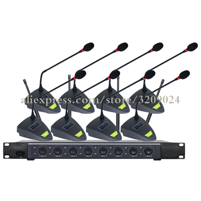 8 Channel  Wireless Conference Microphone Condenser Gooseneck Anti-noise Microphone For Meeting Noise Canceling Desktop Standing