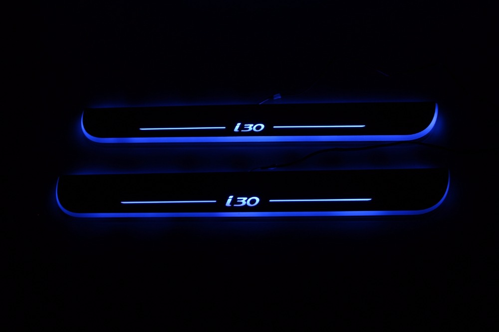 WOOBEST Waterproof Ultrathin Acrylic LED door sill for Hyundai I30, Led moving door scuff plate, Pathway light
