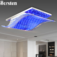 Luxury 4 Color Smooth Sailing Led Lamp K9 Crystal Modern Square Led Ceiling Lights With Remote