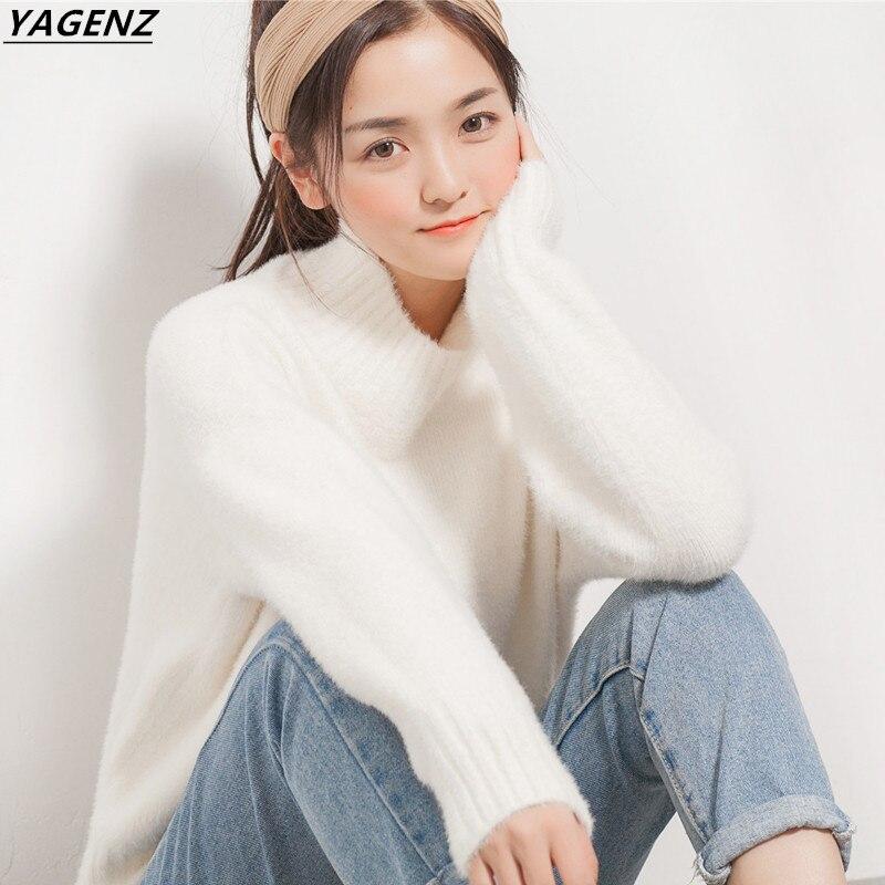 2017 New Winter Women Short Sweater Thickening Warm Cozy Costume Loose Knit Sweater YAGENZ Fall Fashion