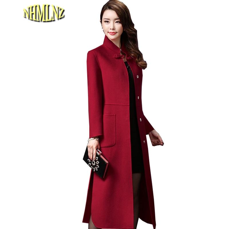 2019 Autumn Winter Women Vintage Woolen Coat Long Section Comfortable Woolen Coat Solid Color Stand Collar Woolen Jacket HAH012