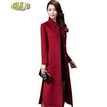 Осенне-зимнее женское винтажное шерстяное пальто, длинное удобное шерстяное пальто, одноцветное шерстяное пальто с воротником-стойкой, HAH012