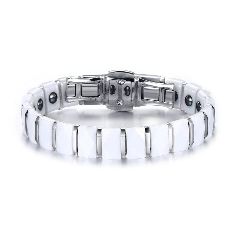 Moda Bayan Bilezik Takı Paslanmaz Çelik Beyaz Seramik Kakma Bilezik Manyetik Terapi Bar Linkler Bileklik Aksesuarları