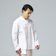 Hemp Every 2017 New Men's Clothing Chinese Wind Cotton T-shirt Men Hanging Type Inner Loose Long-sleeved Kimono
