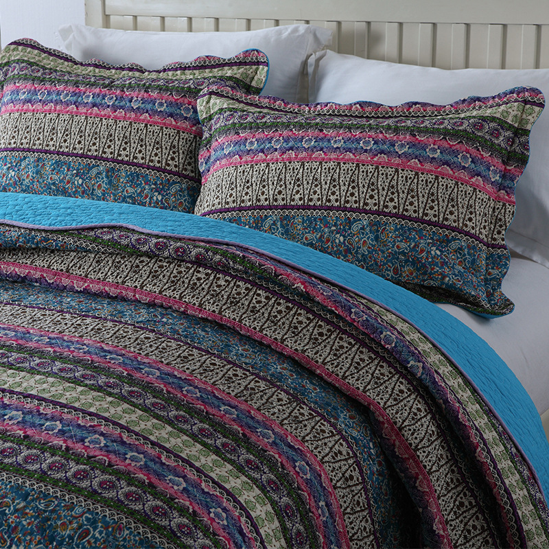 CHAUSUB Cotton Quilt Set 3 Piece Bedspread Bohemian Printed Quilts Bed Cover Pillowcase 2 King Queen Size Coverlets 50 in Quilts from Home Garden