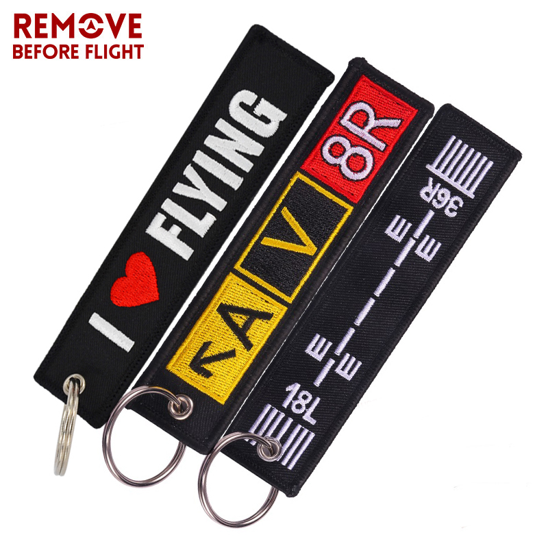3PCS LOT Remove Before Flight Embroidery Letter Motorcycles Key Chain and Jacket Engineer Aviation Gifts Tag Luggage chaveiro de in Key Rings from Automobiles Motorcycles