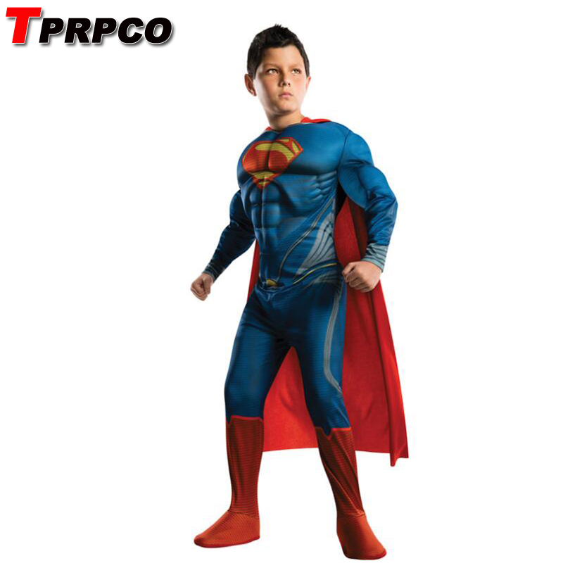 TPRPCO Kids Deluxe Muscle Christmas Superman Costume for children boys kids superhero movie man of steel cosplay NL146